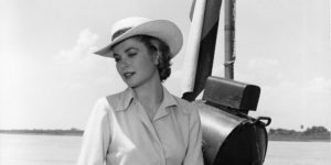 COLUMBIA - 1954: Actress Grace Kelly sits on the rail of a boat on the Magdalena river during filming of the MGM movie 'Green Fire' in 1954 in Columbia. (Photo by Michael Ochs Archives/Getty Images)