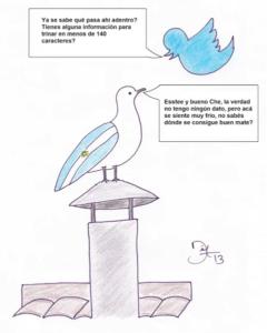 Caricatura de @dixonmedellin sobre la gaviota que anunció a Francisco