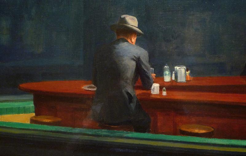"""Detalle de """"Nighthawks"""" de Edward Hopper, 1942."""