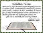 Finalidad de los Proverbios en la Sagrada Biblia Católica