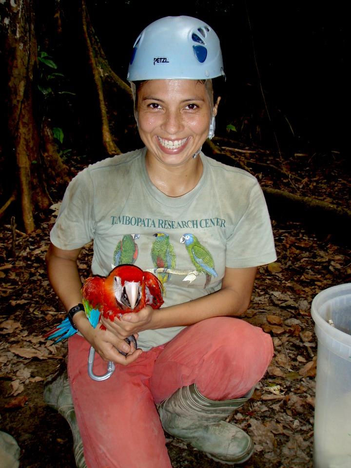 Gabriela Vigo sostiene entre sus manos un guacamayo escarlata.