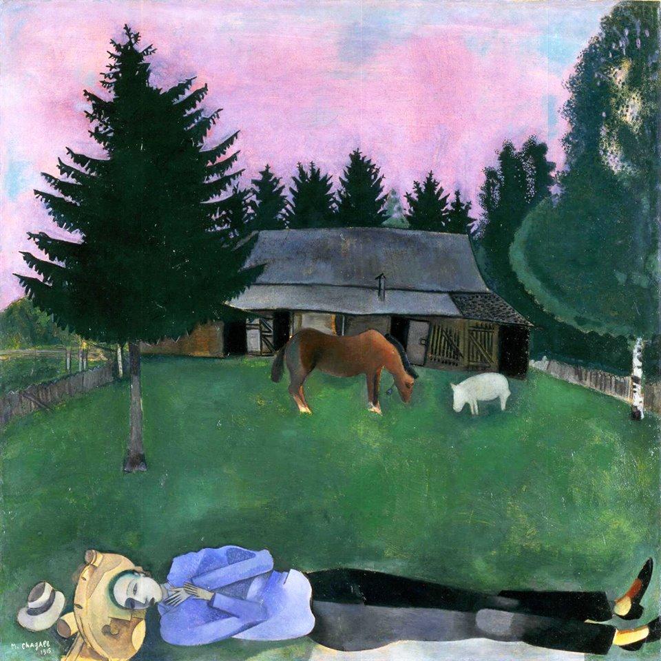 El poeta reclinado. Marc Chagall.
