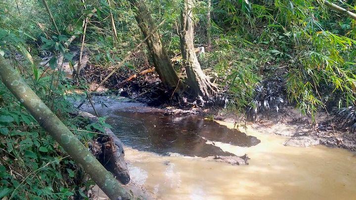 El petróleo ha contaminado dos quebradas, Caño Muerto y la Lizama, y el crudo avanza por el río Sogamoso con dirección al Magdalena, uno de los ríos más importantes del país. Foto: Cortesía Comité de Concertación de la Vizcaína.