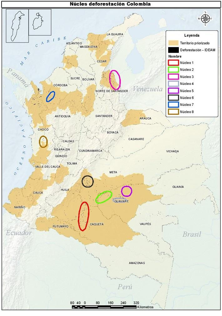 Núcleos de deforestación y zonas de conflicto en Colombia. Imagen: Instituto Humboldt.