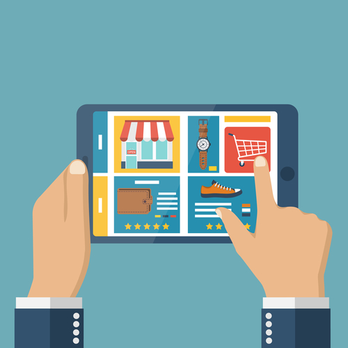 Shopping online. Tablet in hands of a men buying on internet. Shopping online store. Internet shopping. Vector flat design. Shopping basket on tablet screen. Online shopping concept. Mobile shopping.