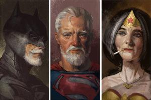 El artista Eddie Liu, de Shanghai, China, ha pintado una serie de cuadros en los que imagina a los superhéroes en edad de retiro.
