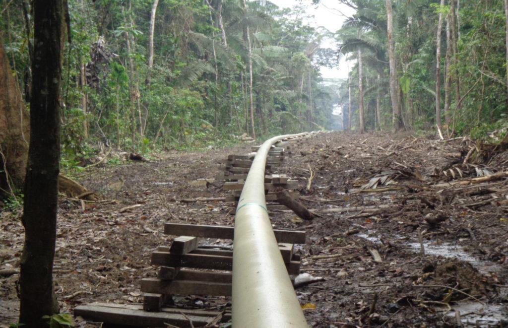 El oleoducto de PetroAmazonas y Amerisur y el área talada dentro del territorio de la comunidad Wisuyá. 14 de diciembre 2015. Foto: Alonso Aguinda