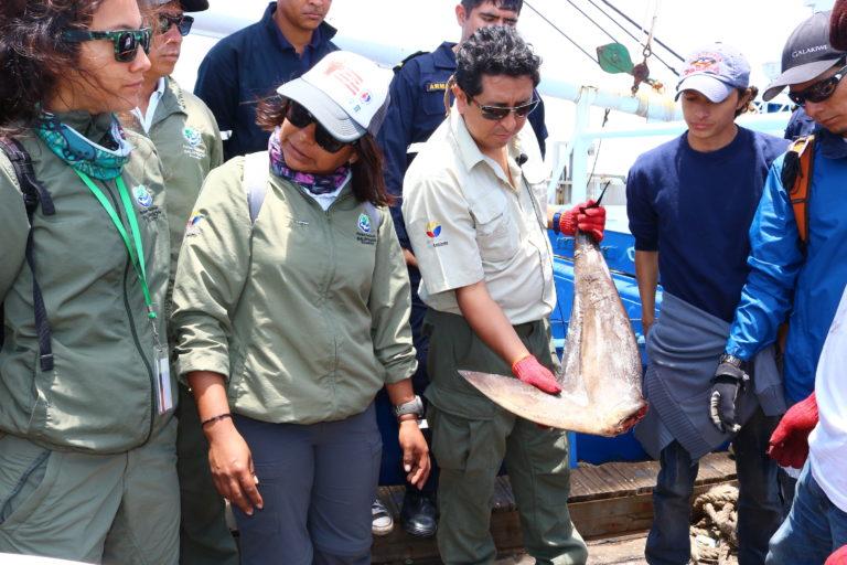 Walter Bustos revisando la carga transportada. Foto: Dirección de Parque Nacional Galápagos
