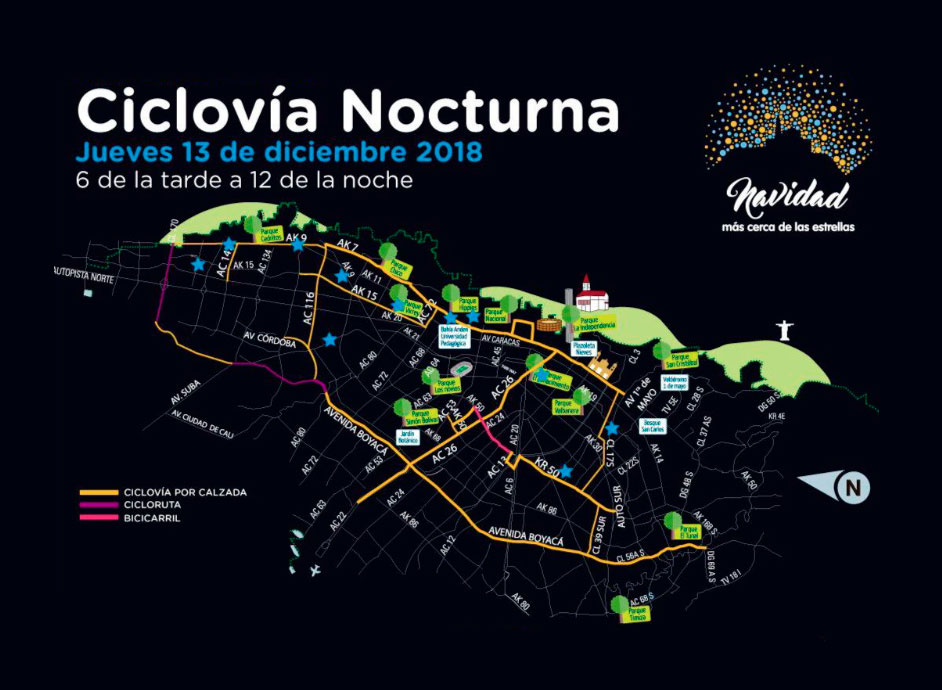 Mapa ciclovía nocturna 2018