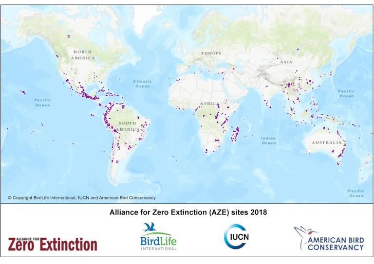 Con la evaluación se identificaron ochocientos cincuenta y tres lugares en ciento nueve países. Imagen: Cortesía de Alliance for Zero Extinction.