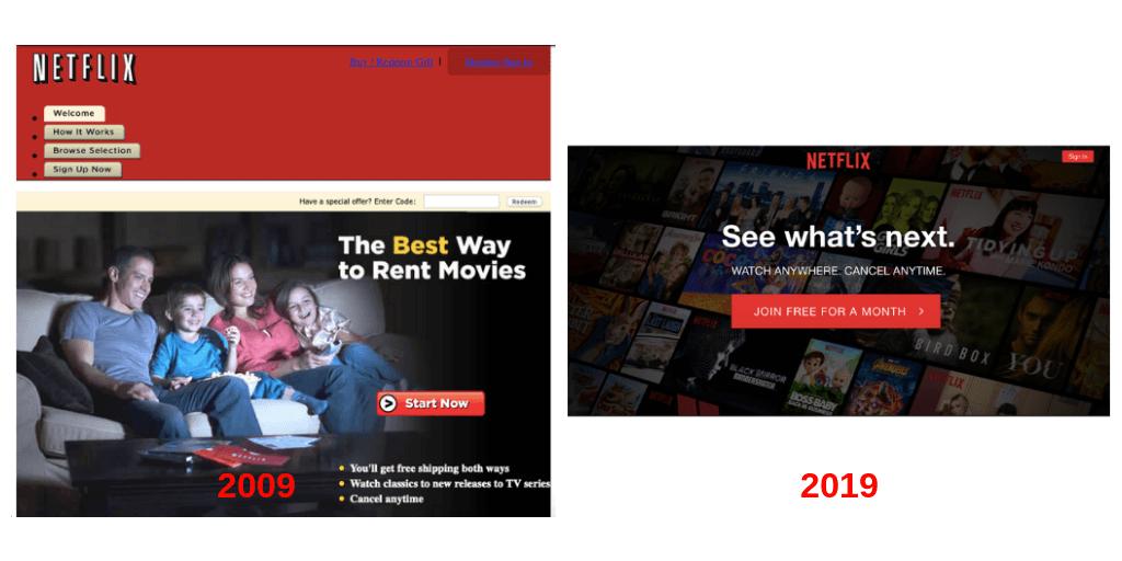 Cómo ha cambiado la página principal de Netflix
