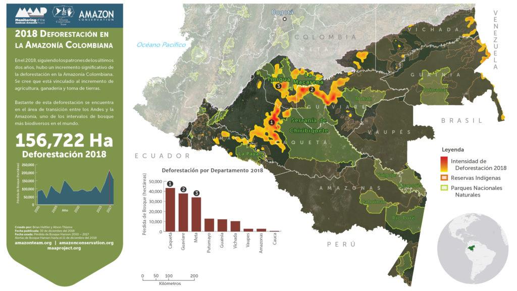 Puntos calientes de deforestación en la Amazonía colombiana. Imagen: UMD/GLAD, Hansen/UMD/Google/USGS/NASA, PNN, SIAC, RAISG.