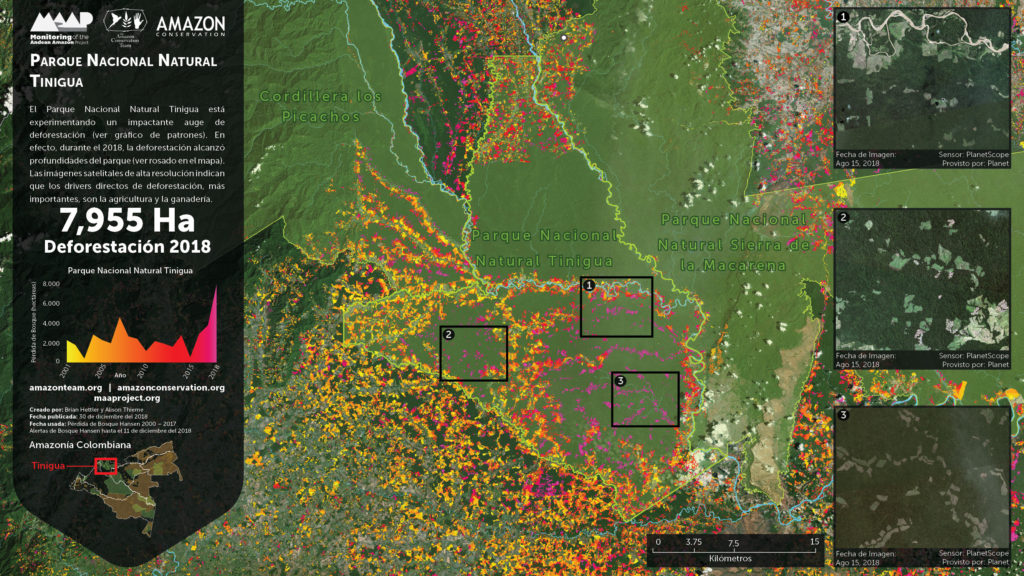 Foco 3 de deforestación: Parque Nacional Tinigua. Imagen: Planet, UMD/GLAD, Hansen/UMD/Google/USGS/NASA, PNN, SIAC, RAISG.