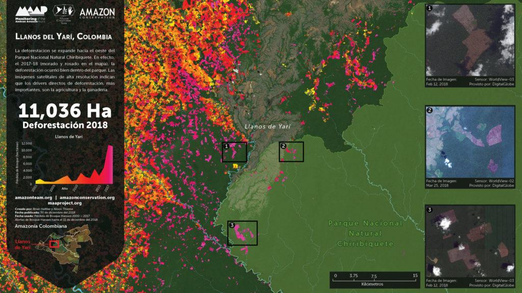El foco 1 de deforestación son los llanos del Yarí. Imagen: DigitalGlobe, UMD/GLAD, Hansen/UMD/Google/USGS/NASA, PNN, SIAC, RAISG.