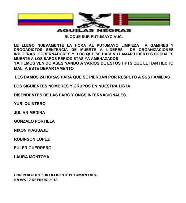 En este panfleto del 17 de enero, el grupo que se hace llamar Águilas Negras amenaza de muerte a Robinson López.