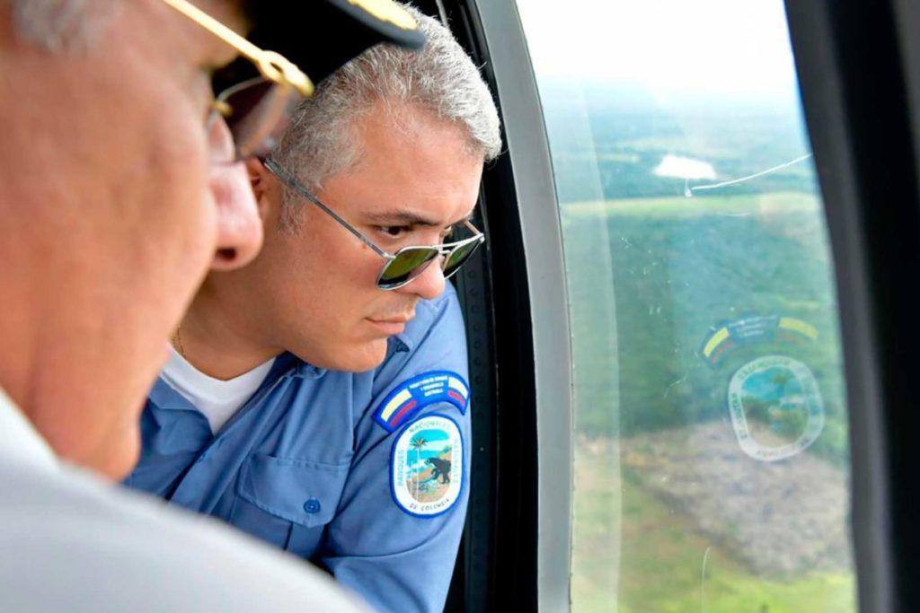 El Presidente Iván Duque sobrevoló el 28 de abril la Serranía de Chiribiquete antes de oficializar el lanzamiento de la Operación Artemisa, para combatir la deforestación. Foto: Efraín Herrera – Presidencia de Colombia.
