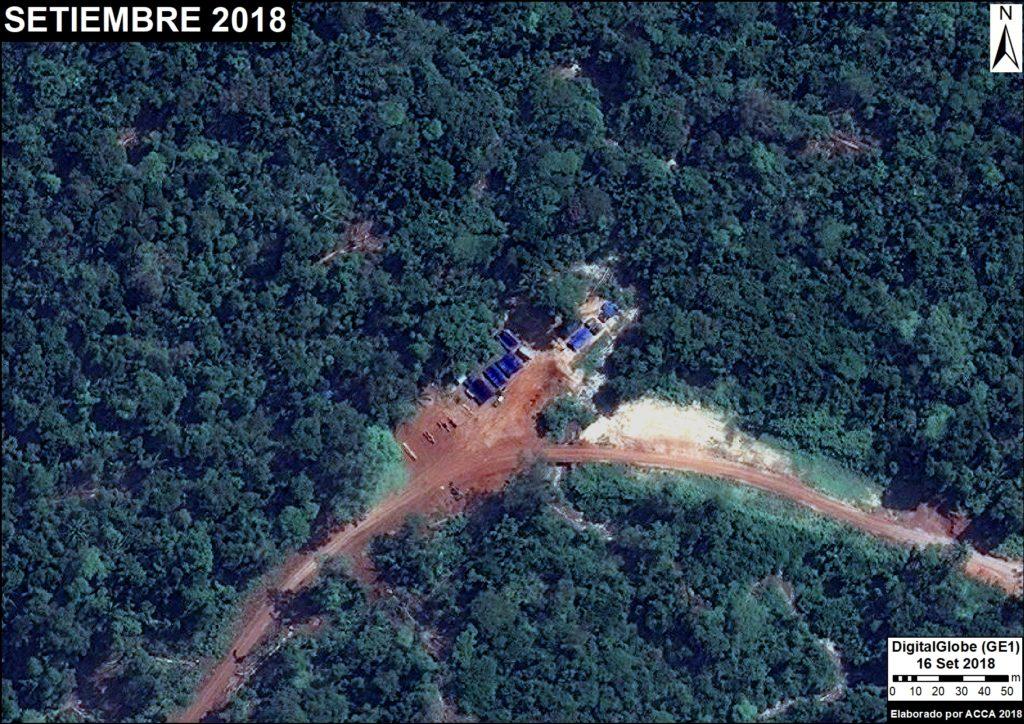 Fotografías satelitales muestran la ruta de la madera desde la extracción de los árboles hasta su embarque en los ríos de la selva de Perú. Fuente: DigitalGlobe / MAAP.