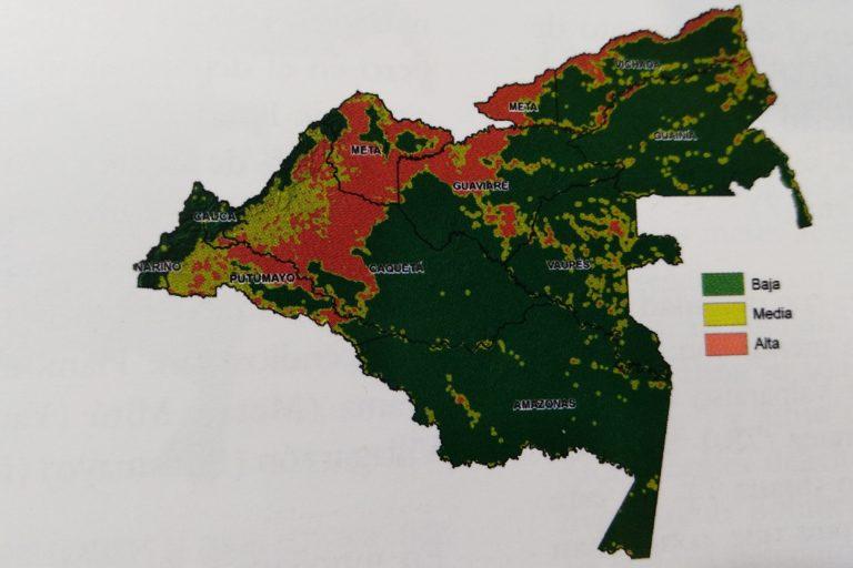 Departamentos y zonas de baja, media y alta densidad de focos de calor entre 2016 y 2018 en la Amazonía colombiana. Mapa: Uriel Murcia y Samuel Otavo – SINCHI.