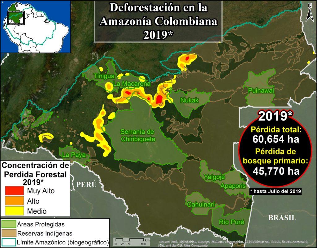 Mapa Base. Hotspots de deforestación en la Amazonía colombiana. Datos: UMD/GLAD, RUNAP, RAISG