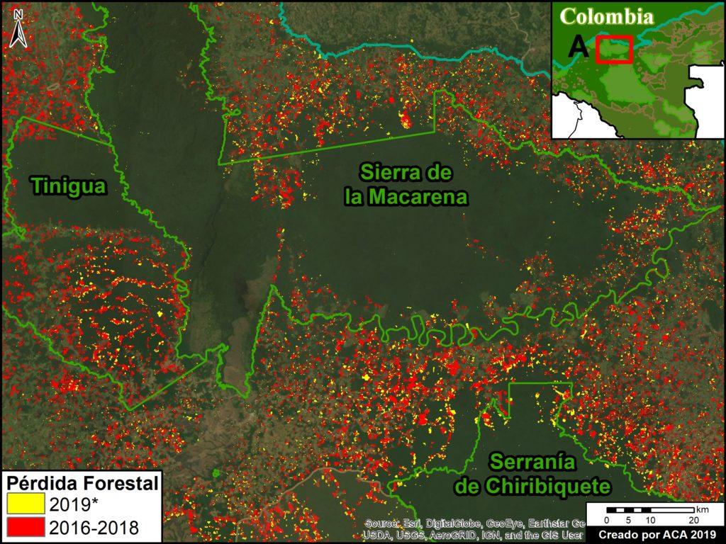 Mapa de Deforestación en Áreas Protegidas. Datos: UMD/GLAD, Hansen/UMD/Google/USGS/NASA, RUNAP, RAISG