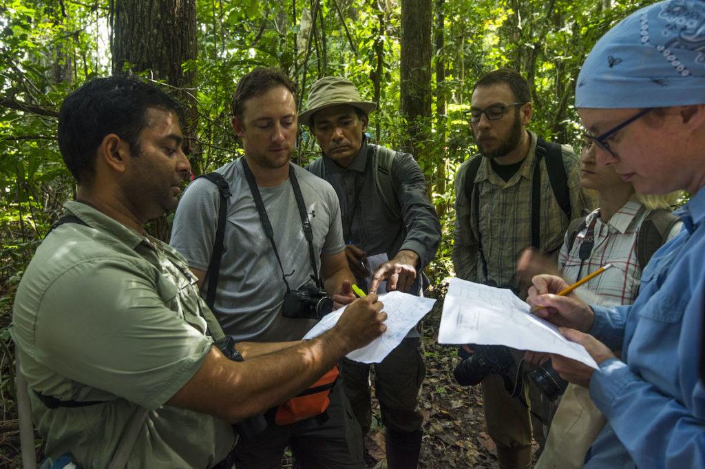 Varun Swamy, situado en el extremo izquierdo de la imagen, les explica a los científicos que han llegado de visita a Cashu algunas de las claves para entender la dinámica del bosque. Foto: ©Gabriel Herrera.