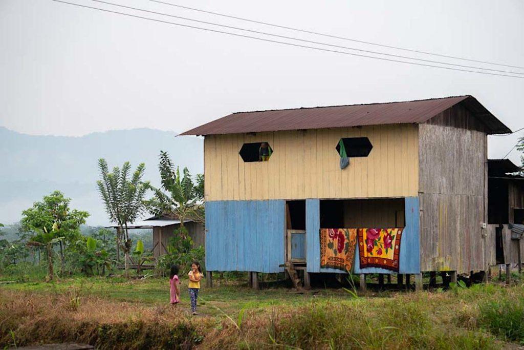 Las casas en Sinangoe suelen ser de uno o dos pisos con un patio trasero. En ese patio es habitual plantar plátano, yuca o yoko. Foto: Diego Ayala León.