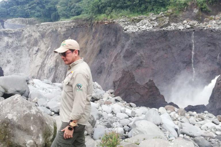 Personal del MAE de Ecuador hizo inspección en el terreno días después del colapso de la cascada San Rafael. Foto: MAE Sucumbíos.
