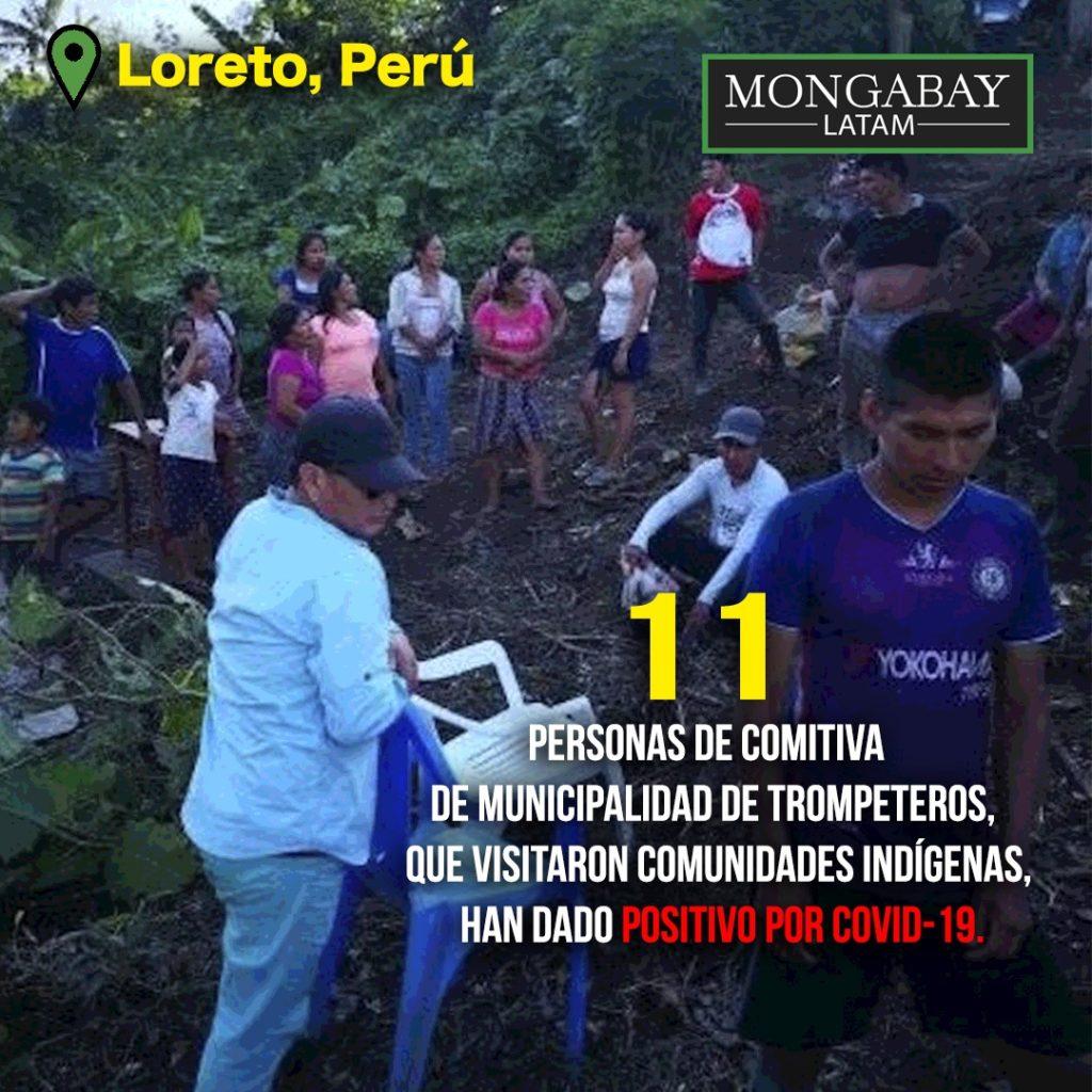 Mujeres y niños participaron de la entrega de víveres en la comunidad de Pucacuro. Foto: Municipalidad de Pucacuro.