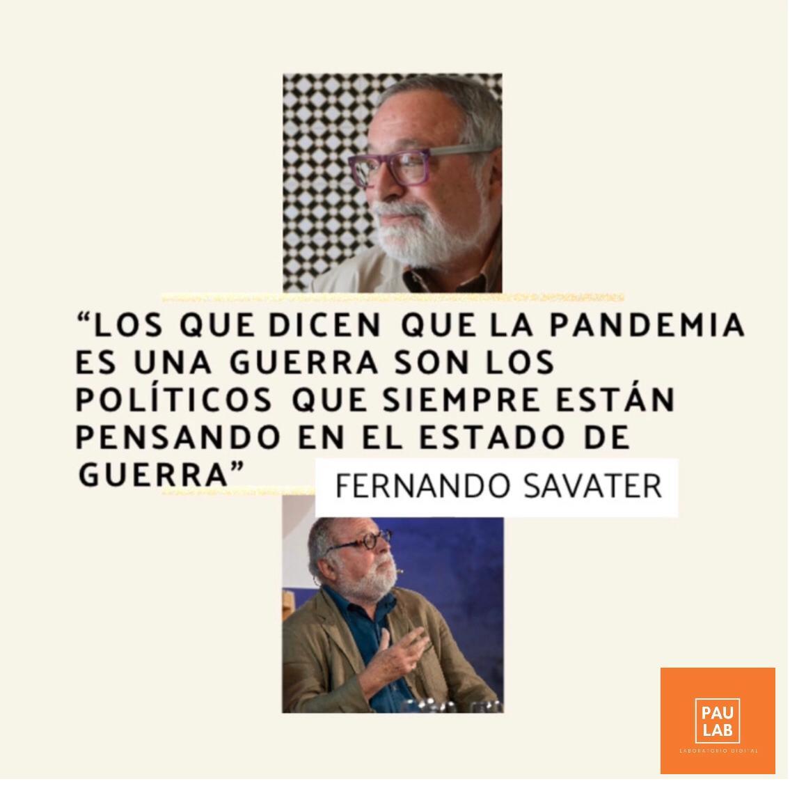El filósofo español, Fernando Savater, imagina el mundo después del Covid19.