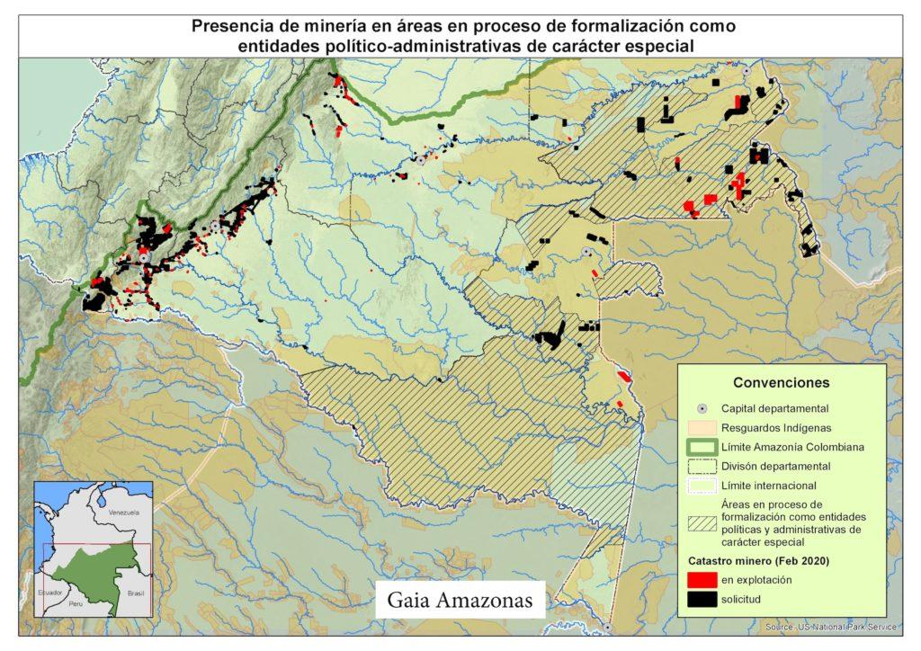 Los títulos mineros y las solicitudes mineras (en rojo y negro) que se ven en la parte derecha del mapa están, en su gran mayoría, en los departamentos de Guainía y Vaupés. Mapa: Elaboración de Gaia Amazonas.