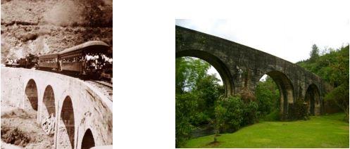 Imagen comparativa del viaducto Boquía, en el departamento del Quindío. A la izquierda 1940, a la derecha 2015.