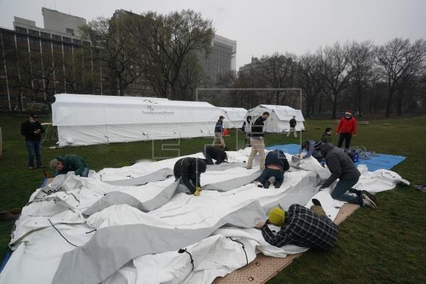 En el Central Park de Nueva York se instaló un hospital de campaña para pacientes con coronavirus.