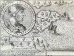 Pizarro en la isla Gorgona, grabado de 1726.